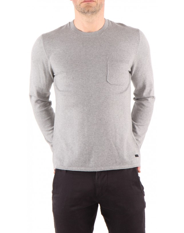 SWETER LEE CREW KNIT GREY MEL L84NAH37
