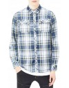 Koszula G-star raw landoh shirt indigo/yellow check, indigo lirf flannel check